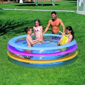 Бассейн надувной детский прозрачный трёхцветный с кристаллическим узором на стенках